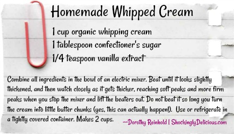 Homemade Whipped Cream by ShockinglyDelicious.com