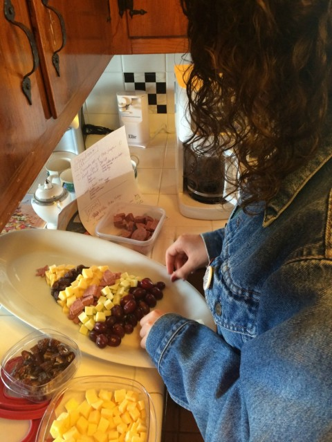 Katie Reinhold arranges Tree-Shaped Meat and Cheese Plate