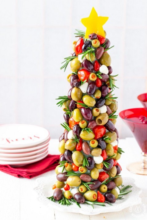 Olive-Christmas-Tree-Appetizer-by Deb Attinella of Cooking on the Front Burner