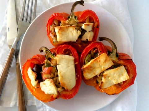 3-Ingredient Greek Stuffed Peppers stuff gorgeous striped Enjoya peppers with deli counter Greek orzo salad before topping with feta and roasting. Easy and delicious!