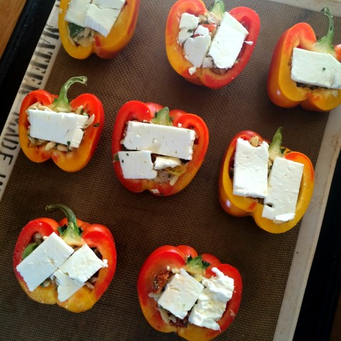 3-Ingredient Greek Stuffed Peppers ready for the oven