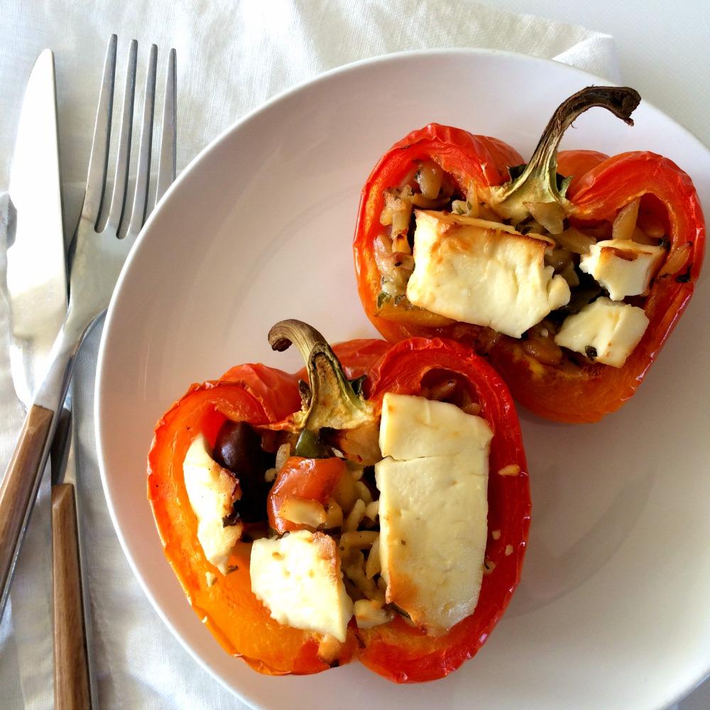 3-Ingredient Greek Stuffed Peppers recipe
