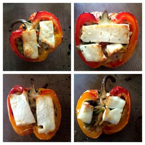 3-Ingredient Greek Stuffed Peppers roasted