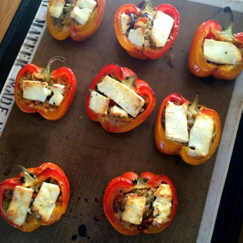 3-ingredient Greek Stuffed Peppers out of the oven