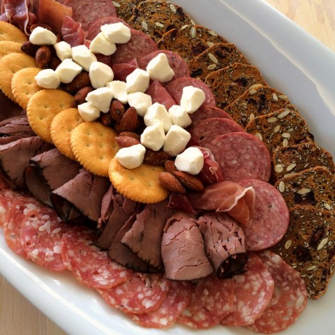 Easy Football-Shaped Meat and Cheese Plate