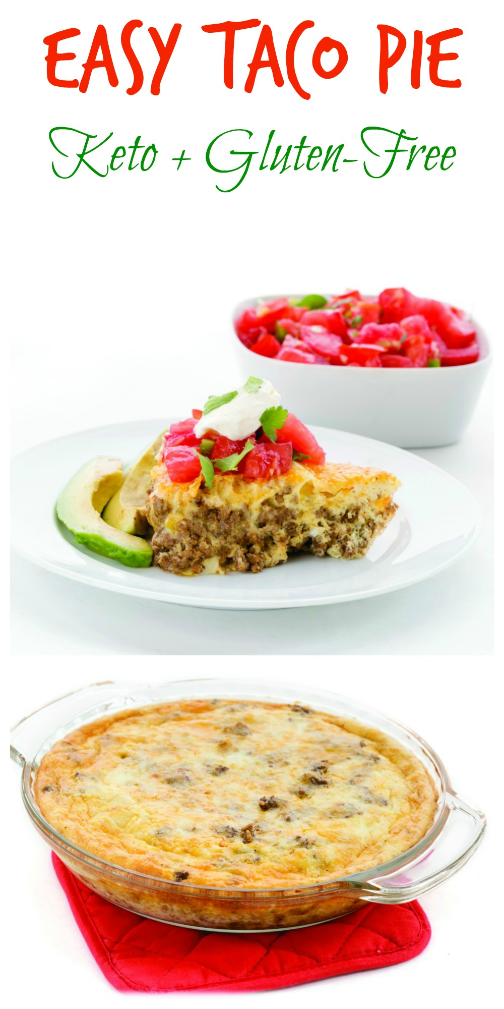 Photo collage of Easy Taco Pie recipe on ShockinglyDelicious.com