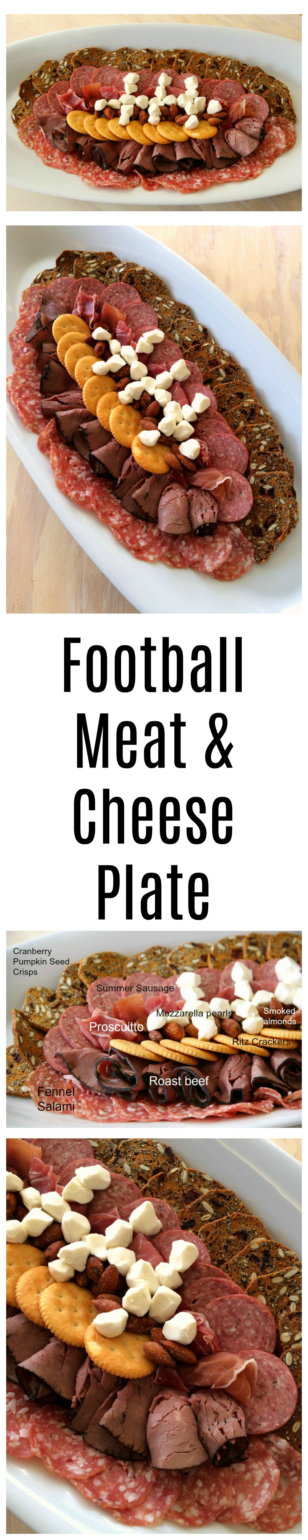 Football-Shaped Meat and Cheese Plate for game watching parties