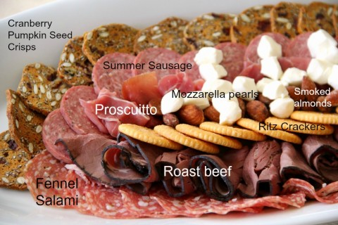 Football-Shaped Meat and Cheese Plate is easy to put together for game watching