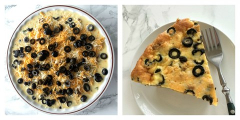 Variation of Easy Taco Pie with Sliced Ripe Olives on top
