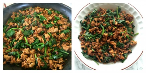 Variation of Easy Taco Pie with spinach inside