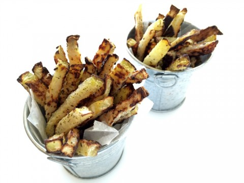 BAKED KOHLRABI FRIES, which are naturally vegan, are a surprisingly great way to eat an unusual vegetable. Kohlrabi is also relatively low in carbs, so you can indulge your fry addiction without going off the rails.