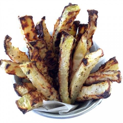 Low-Carb Baked Kohlrabi Fries vegan recipe served in a small metal pail
