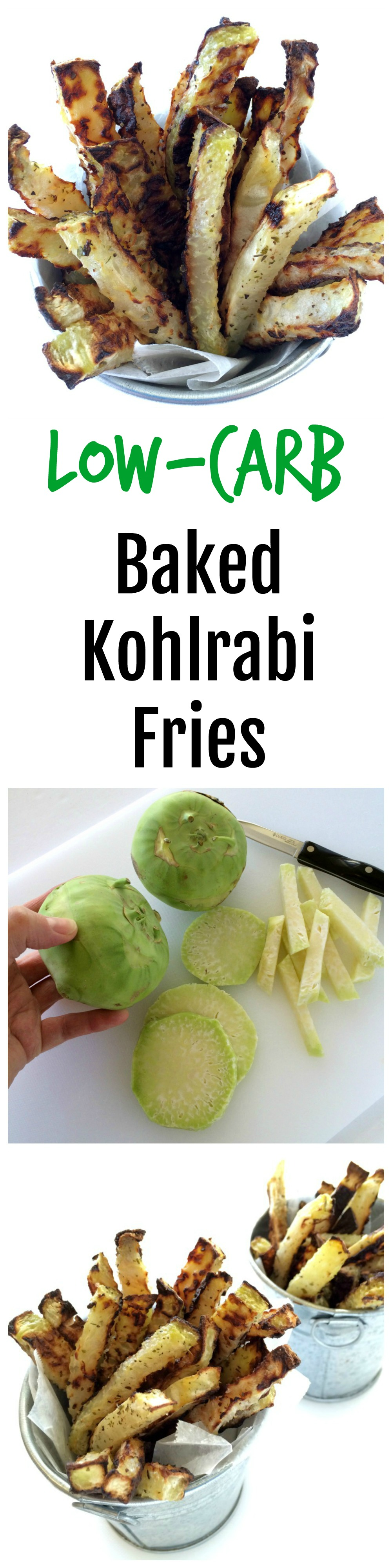 Collage of photos showing Vegan Low-Carb Baked Kohlrabi Fries on ShockinglyDelicious.com