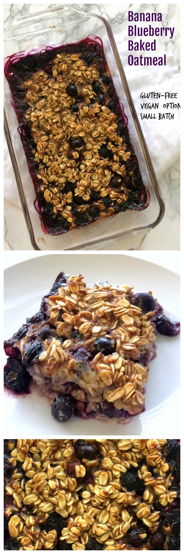 Banana Blueberry Baked Oatmeal Small Batch Breakfast Recipe