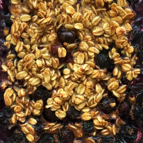 Banana Blueberry Baked Oatmeal closeup