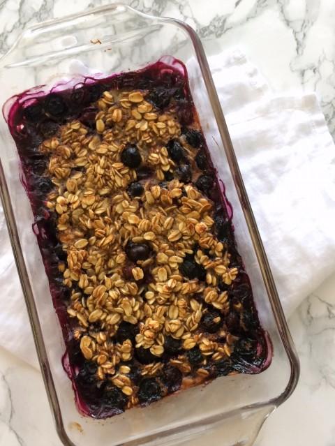 Banana Blueberry Baked Oatmeal small batch breakfast