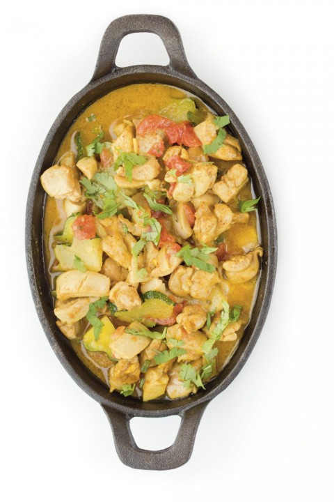 Chicken Coconut Curry in a cast iron pot