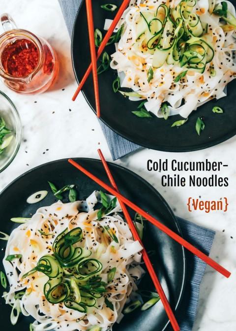 Cold Cucumber Chile Noodles VEGAN RECIPE on ShockinglyDelicious.com