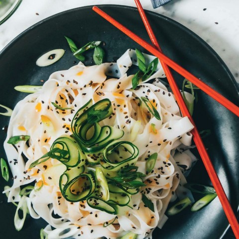 Cold Cucumber Chile Noodles vegan recipe from Hot For Food Vegan Comfort Classics