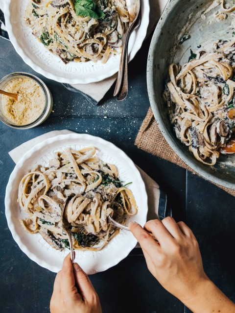 Mushroom Fettuccine Alfredo from Hot for Food Vegan Comfort Classics
