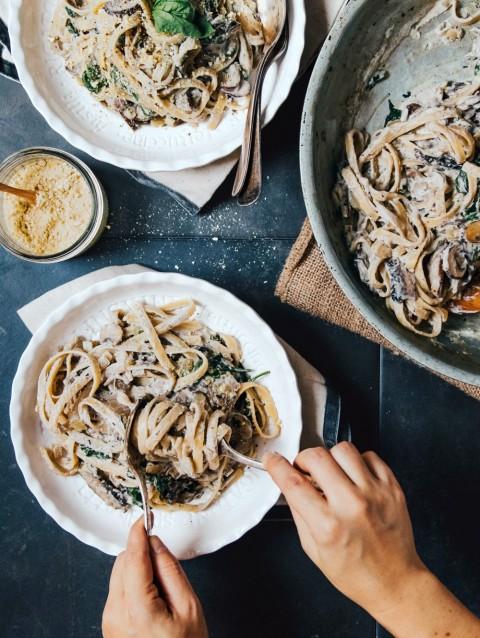 Mushroom Fettuccine Alfredo from Hot for Food Vegan Comfort Classics
