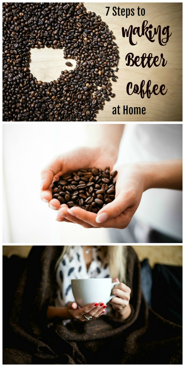 Collage of 3 photos of 7 Easy Steps to Making Better Coffee at Home on ShockinglyDelicious.com