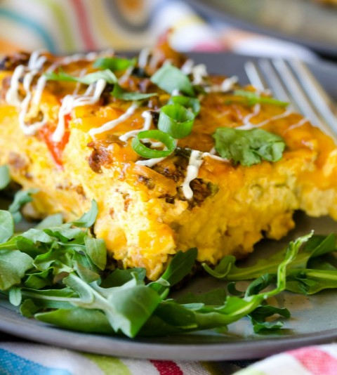 OVERNIGHT MEXICAN BREAKFAST CASSEROLE:  A spicy, savory layered dish you assemble the night before, refrigerate, and bake up the next morning, for a crowd-friendly breakfast, brunch, lunch or dinner.
