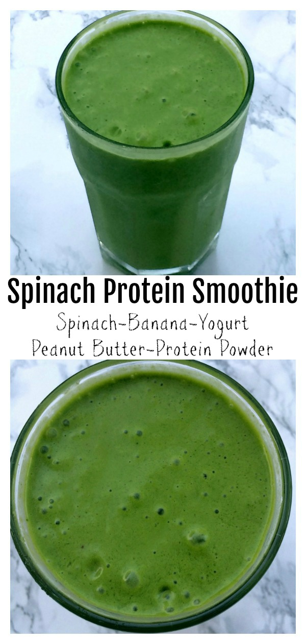 Spinach Banana Protein Smoothie on ShockinglyDelicious.com