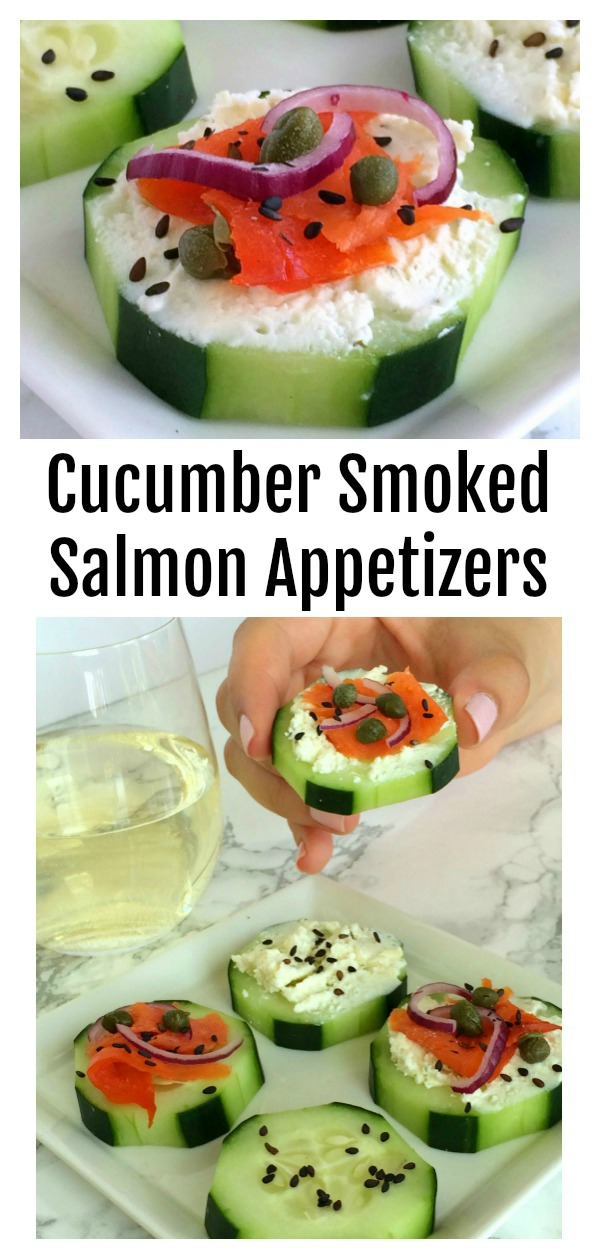 Easy Cucumber Smoked Salmon Appetizer Bites on ShockinglyDelicious.com