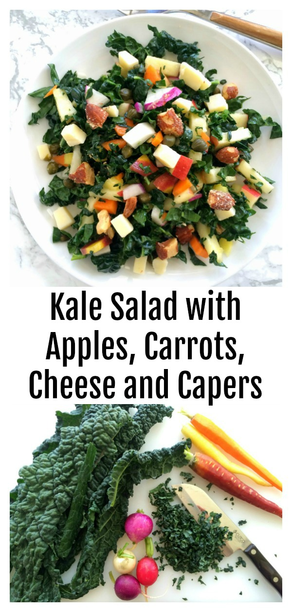 Photo collage of Easy Kale Salad with Apples, Carrots, Cheese and Capers
