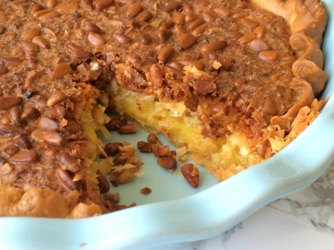 French Coconut Pie with Pine Nuts cut