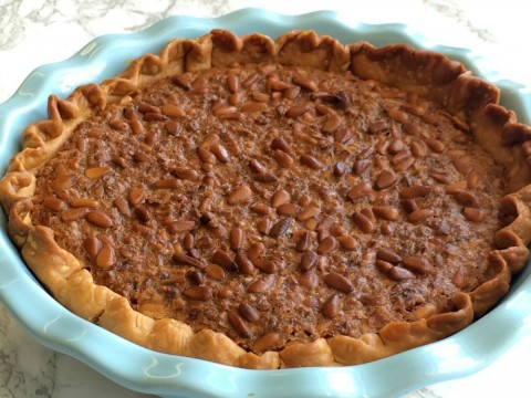 French Coconut Pie with Pine Nuts full pie