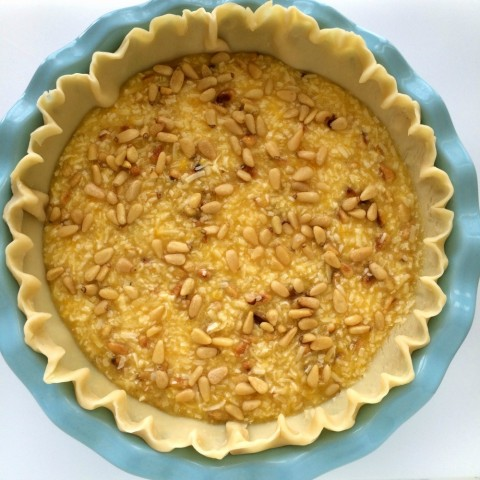French Coconut Pie with Pine Nuts ready for the oven