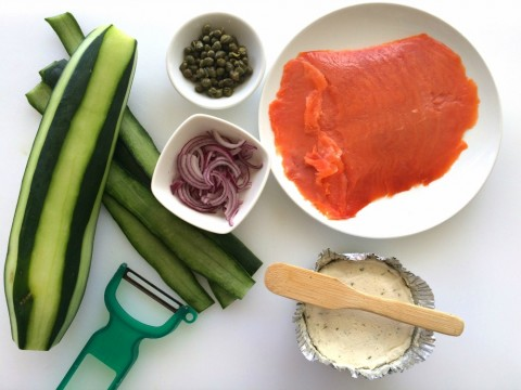Ingredients for Cucumber Smoked Salmon Appetizer Bites