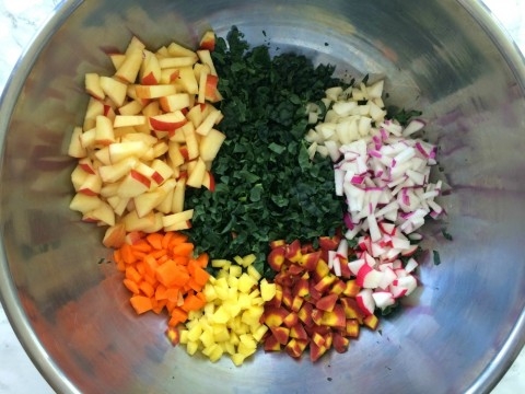 Salad bowl with kale and veggies for Kale Salad with Apples, Carrots, Cheese and Capers