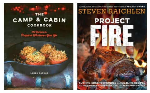 collage of 2 new cookbooks for camping