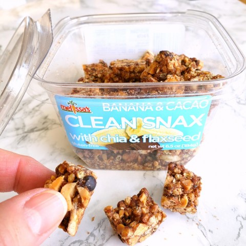 Banana & Cacao Clean Snax from Melissa's Produce on a white marble counter