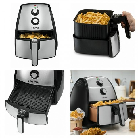 Silver Gourmia GAF560 Air Fryer kitchen appliance showing 4 views of it