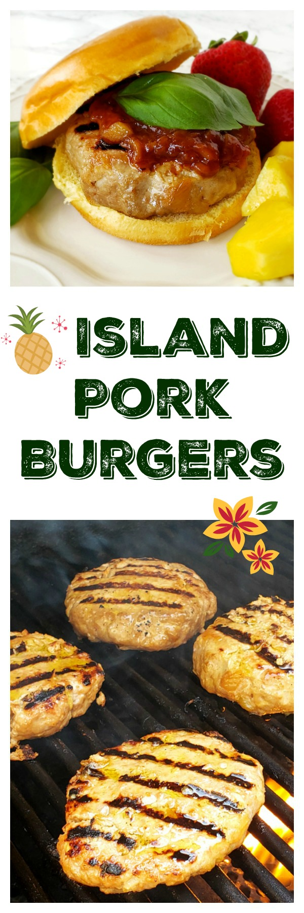 Photo collage of Island Pork Burgers grilled on ShockinglyDelicious.com