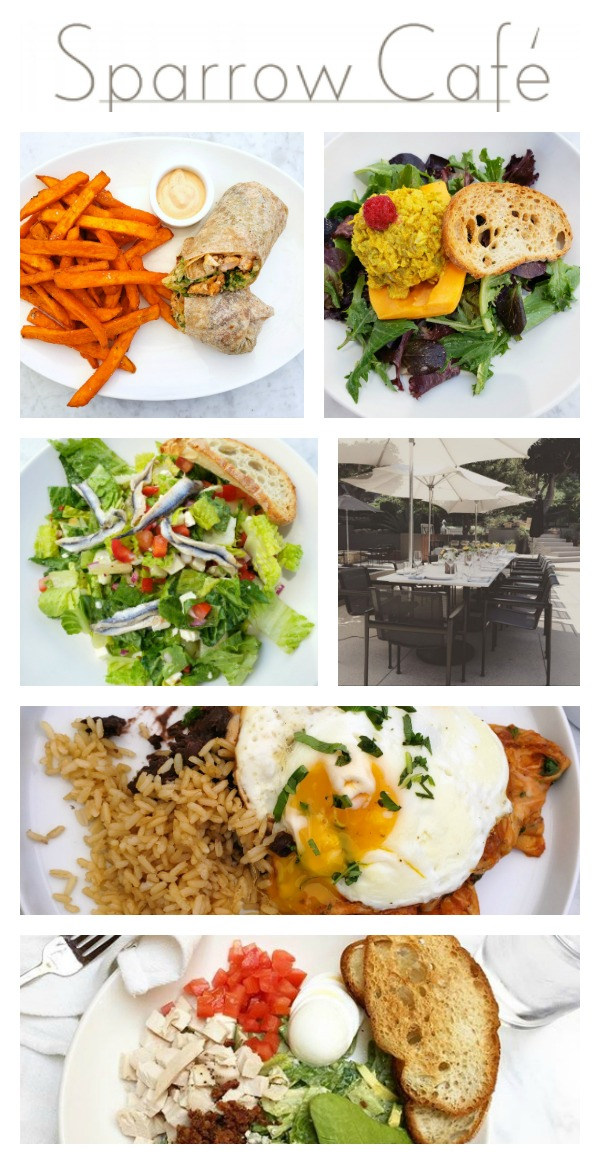 Photo collage of dishes from The Sparrow Cafe in Malibu, California