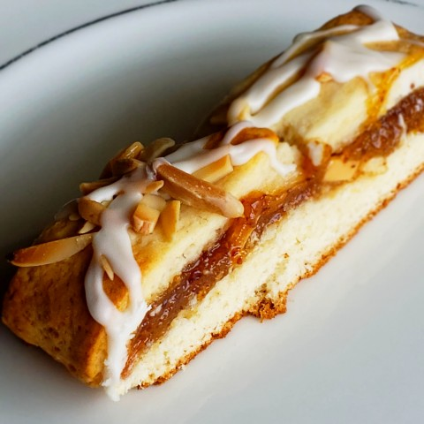 Slice of Cream Cheese Pastry with Almond Filling