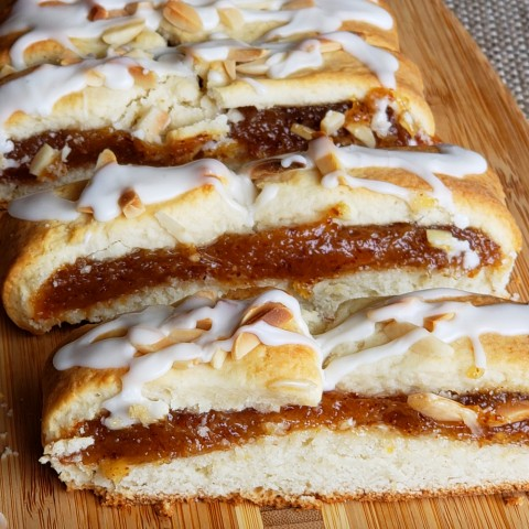 Slices of Cream Cheese Pastry with Almond Filling