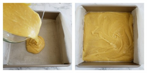 Pour the batter into the OXO baking pan