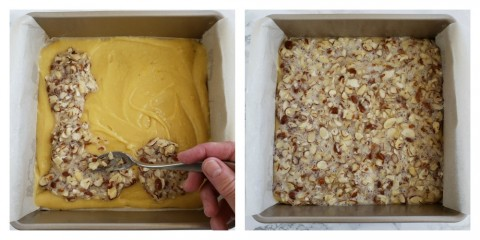 Spread the almond topping on