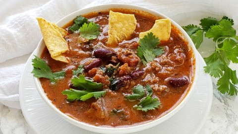 Bison Tortilla Soup in the Instant Pot: Hearty, flavor-filled, meaty, beany soup gets made easily in the Instant Pot. Fling lots of chopped cilantro, cheese and tortilla chips on top for fun!