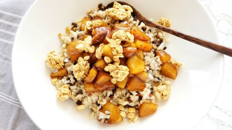 Easy Apple Crisp Breakfast Bowl Recipe on ShockinglyDelicious.com