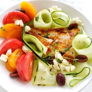 Chicken, Tomato and Cucumber Dinner Salad