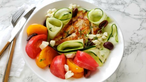 Chicken, Tomato and Cucumber Salad: This is a winner, winner chicken dinner that the whole family will like. It's lightly dressed, refreshing, easy, fast, healthy and veggie-centric. That hits all the marks for a perfect all-year recipe!