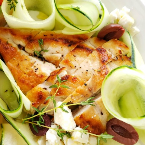 Cucumber ribbons in the Chicken, Tomato and Cucumber Dinner Salad