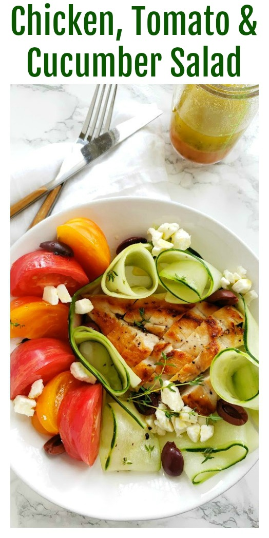 Easy Chicken, Tomato and Cucumber Salad Recipe on ShockinglyDelicious.com